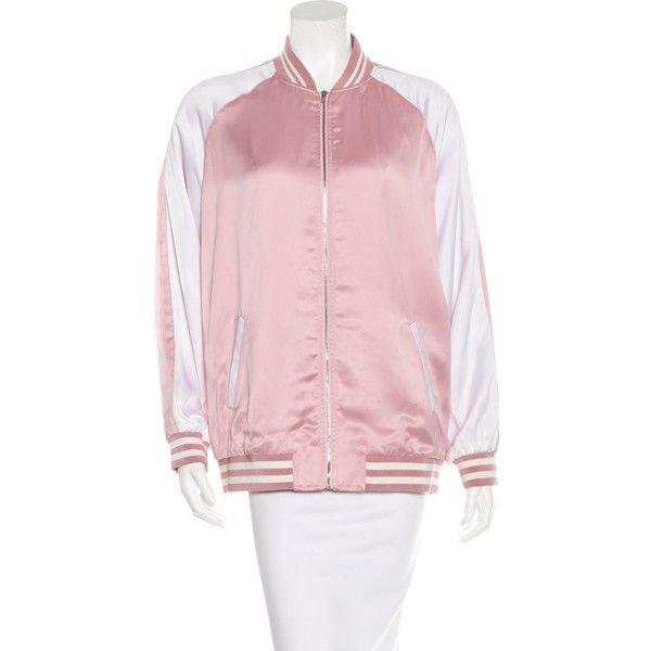 Pre-owned Saint Laurent Spring 2016 Bomber Jacket ($1,495) ❤ liked on Polyvore featuring outerwear, jackets, pink, bomber jacket, bomber style jacket, zip pocket jacket, satin bomber jacket and striped jacket