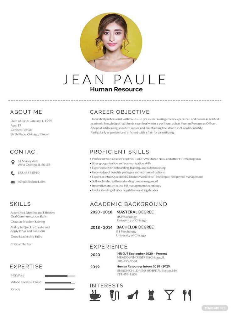 FREE HR Fresher Resume/CV Template Word (DOC) PSD