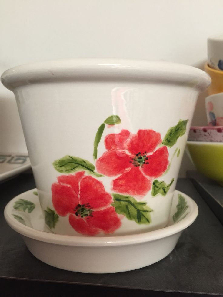 A Large Plant Pot painted at The Crafty Cafe