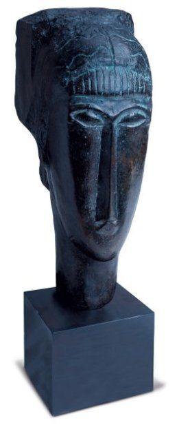 Amédéo MODIGLIANI (Livourne 1884 - Paris 1920) Tête de jeune fille à la frange Sculpture en bronze