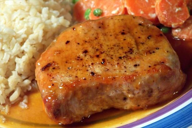 Maple-Glazed Pork Chops! Made these on the grill last night and they were amazing! My 5 year old ate 2 whole pork chops!! Jon loved the sauce as did Jolyne! Served it with some Zucchini Au Gratin fresh from the garden!!