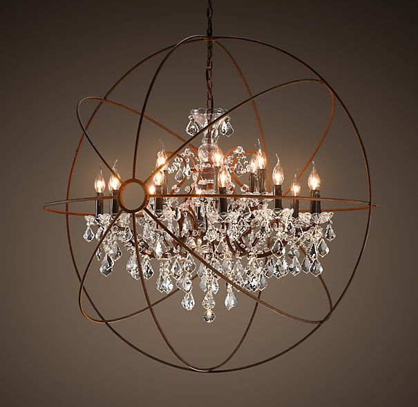 Foucault's Orb Crystal and Rustic Iron Chandelier