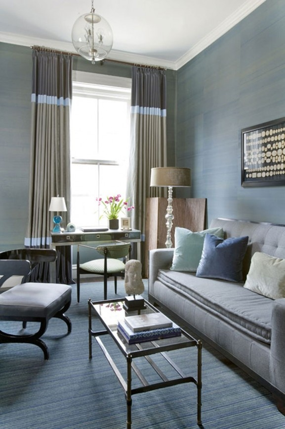 modern living room furniture collection.SLATE BLUE, mono color