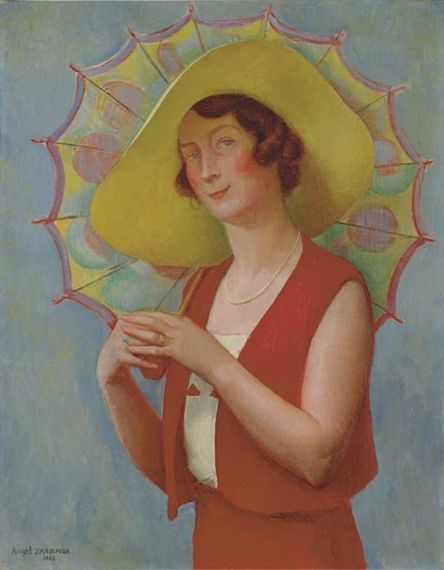 Angel Zárraga  Untitled (Woman with Umbrella) , 1932  oil on canvas  Dimensions: 36¼ x 28¾ in. (92 x 73 cm.)  Signed.