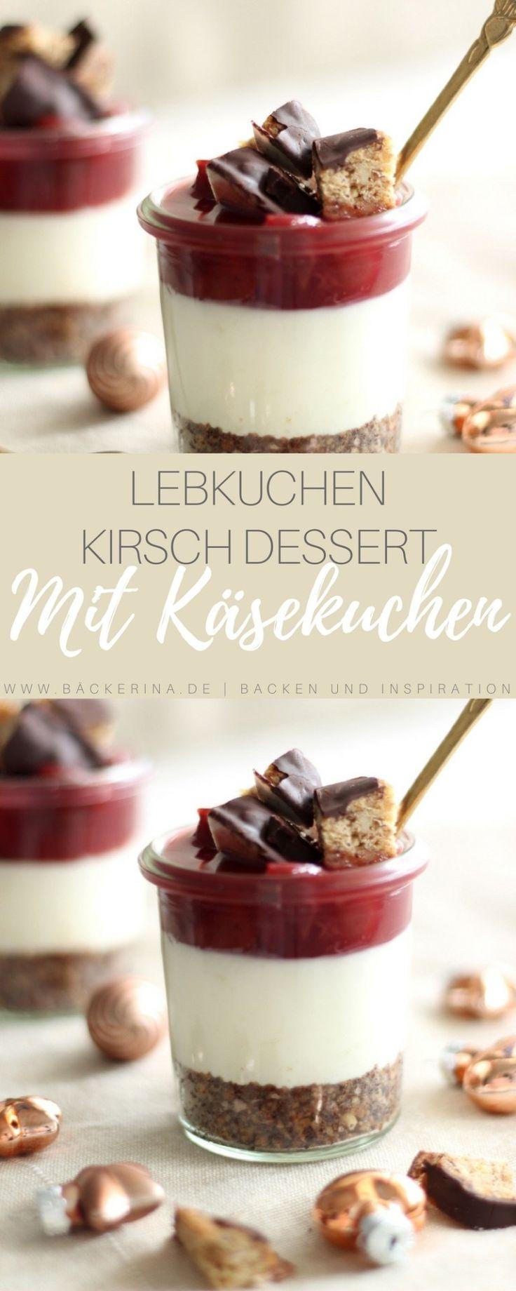 No bake Cheesecake im Glas – Lebkuchen & Kirsche