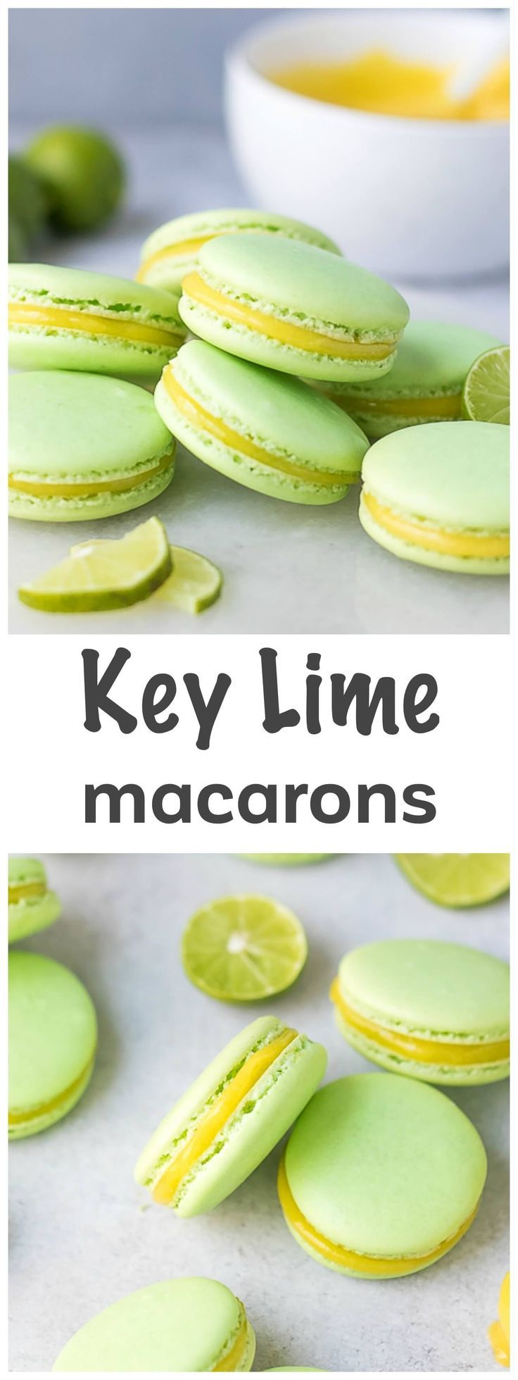 Lime Macarons Recipe - tangy and sweet French macarons, that melt in your mouth, filled with lime curd and loaded with fresh flavor. via @cookinglsl
