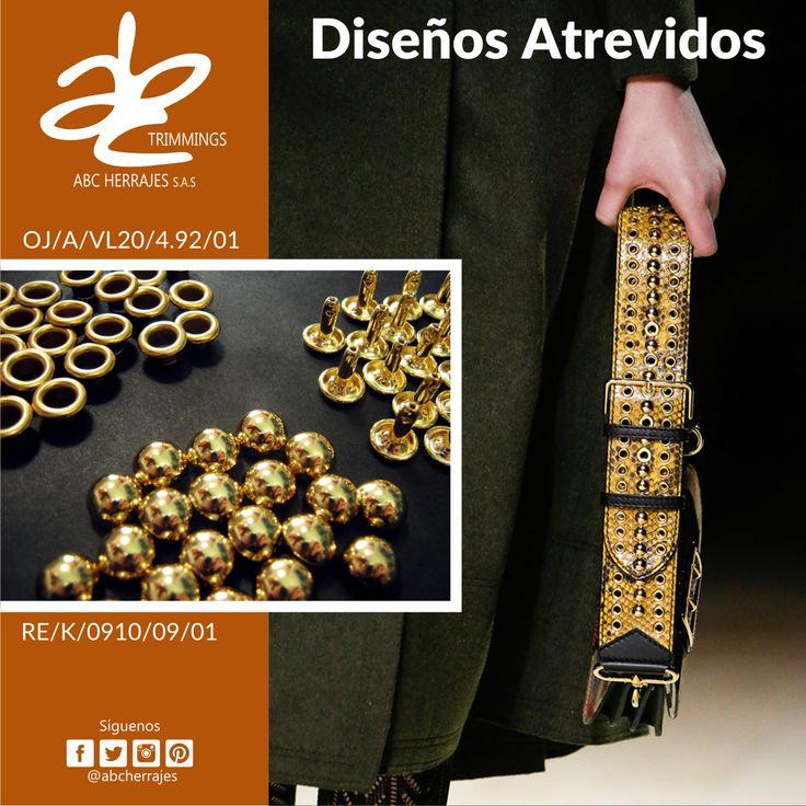 #Diseños Atrevidos para las #Correas de tus #Bolsos y #Carteras. #ABCHerrajes #Herrajes #Marroquineria #Moda #Ojaletes #Remaches Nos puedes encontrar en: #Bogota: Calle 74A # 23-25 / Tel: 2115117 #Medellin: Diagonal 74B # 32-133 / Tel: 3412383 #Barranquilla: Cra. 52 # 72-114 C.C. Plaza 52 / Tel: 3690687 Visítanos en: www.abcherrajes.com