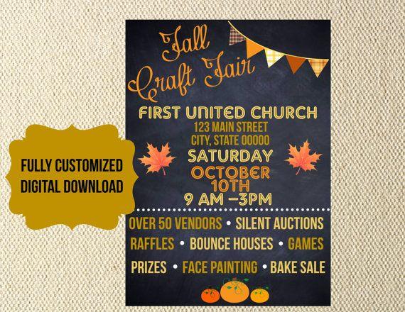 DIGITAL FILES Fall Festival craft fair church school organization Flyer invitation chalkboard carnival trunk or treat vbs charity