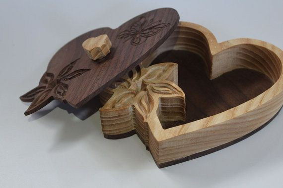 Wooden box with lid - Handmade heart shaped box - Bandsaw box - Heart/Butterfly carvings - jewlery / trinket wooden box