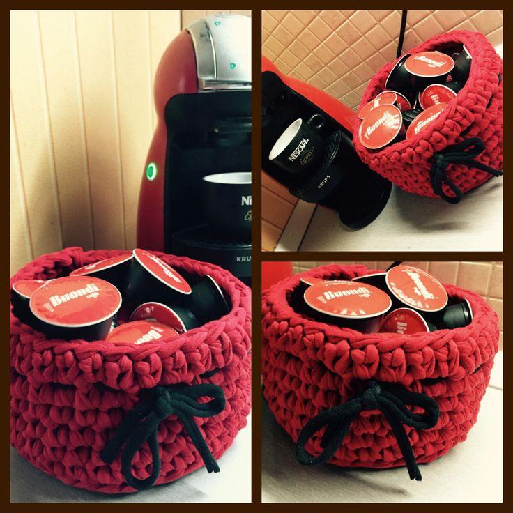 Crochet basket for dolce gusto cups. DIY