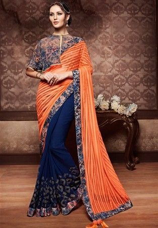 Orange Georgette Designer #saree   #WomenClothing #WomenWear #DesignerSaree #OrangeSaree