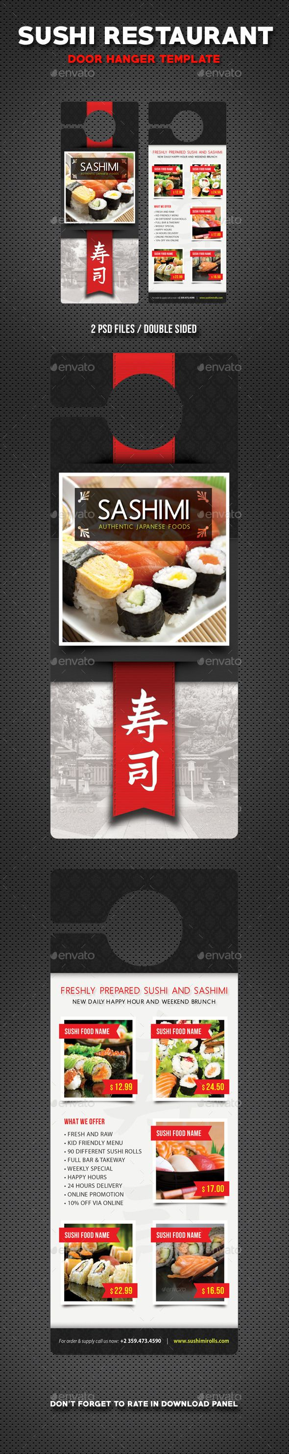 17 best images about Sushi Flyer Sushi Restaurant menu Print – Restaurant Door Hanger Template
