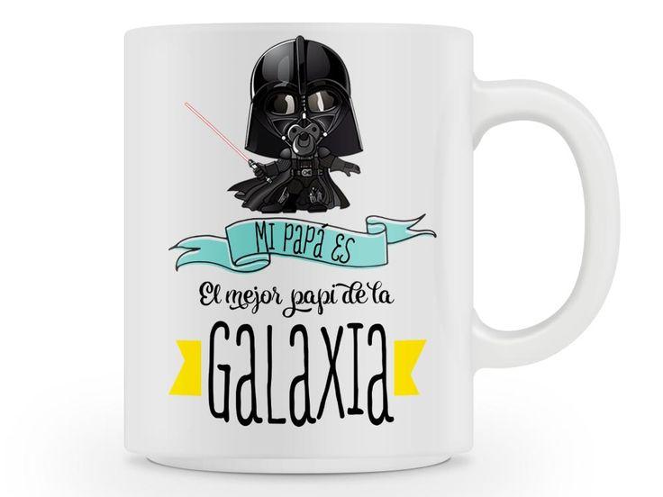 Taza El mejor papá de la galaxia , inspirada en star wars y personalizable. Sólo 12€. Envíos a toda la península
