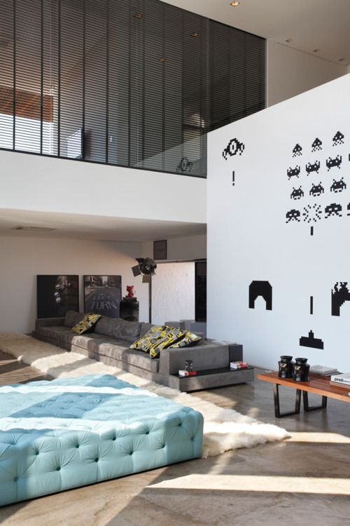Wall Art, Spaces Invaders, Videos Games, Interiors, Wall Decals, Living Room, High Ceilings, House, Wall Stickers