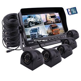 """Features & Benefits"" Camnex Car Backup Camera System 9"" Monitor Build-in DVR Recorder with Quad Split Screen Rear View Camera System Kit Included 5 x Side Cameras for Truck Van Caravan Trailers Camper Bus RV"