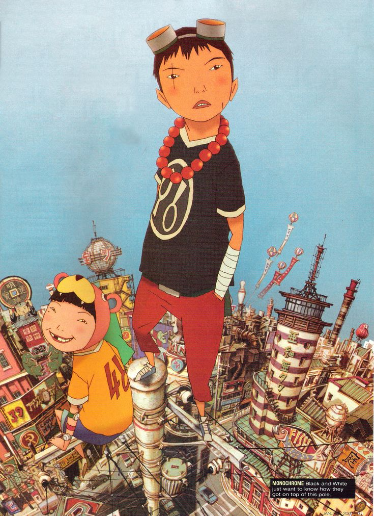 Tekkonkinkreet - Taiyou Matsumoto. Characters are mostly solid blocks of colour. Small, slender limbs.