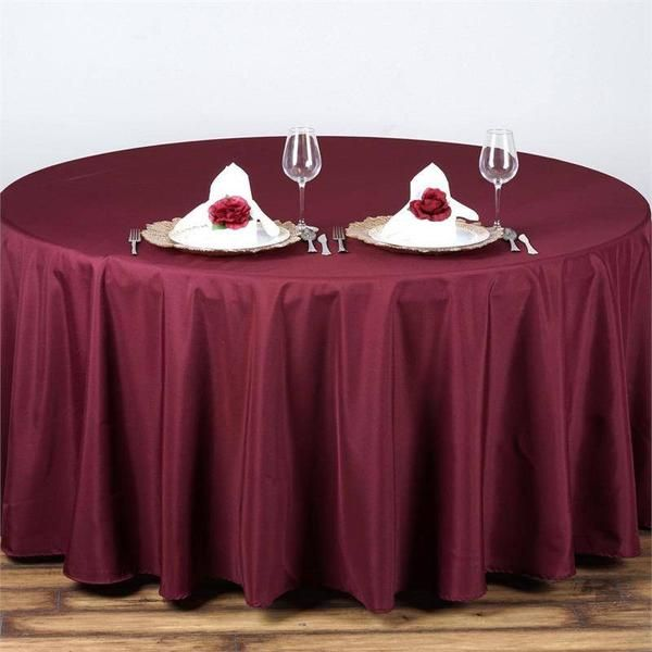 """90"""" BURGUNDY Wholesale Polyester Round Tablecloth - Plan as many events as you want and invite as many guest as you desire without even worrying about the expenses and your budget. With our sturdy and economical polyester tablecloths, you can now transform any dining experience into a magnificent feast with an upscale feel and an elite look without breaking the banks. Get inspired by this premium quality polyester tablecloth that opens the gates of creativity and ingenuity. With such a high…"""