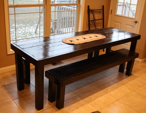 10foot unique primtiques elegant black solid wood dining kitchen table with two benches set custom sizes colors home decor