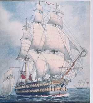 The HMS St. Lawrence was a wooden warship used in the war of 1812. The first Royal navy ship that participated in a line of battle formation. A 112-gun first-rate wooden warship that served on Canada's Lake Ontario during the War of 1812. In a campaign that had been dominated by sloops and frigates, gave the British uncontested control of the lake during the final months of the war. HMS St Lawrence never saw action, because her presence on the lake deterred the U.S. fleet from setting sail.