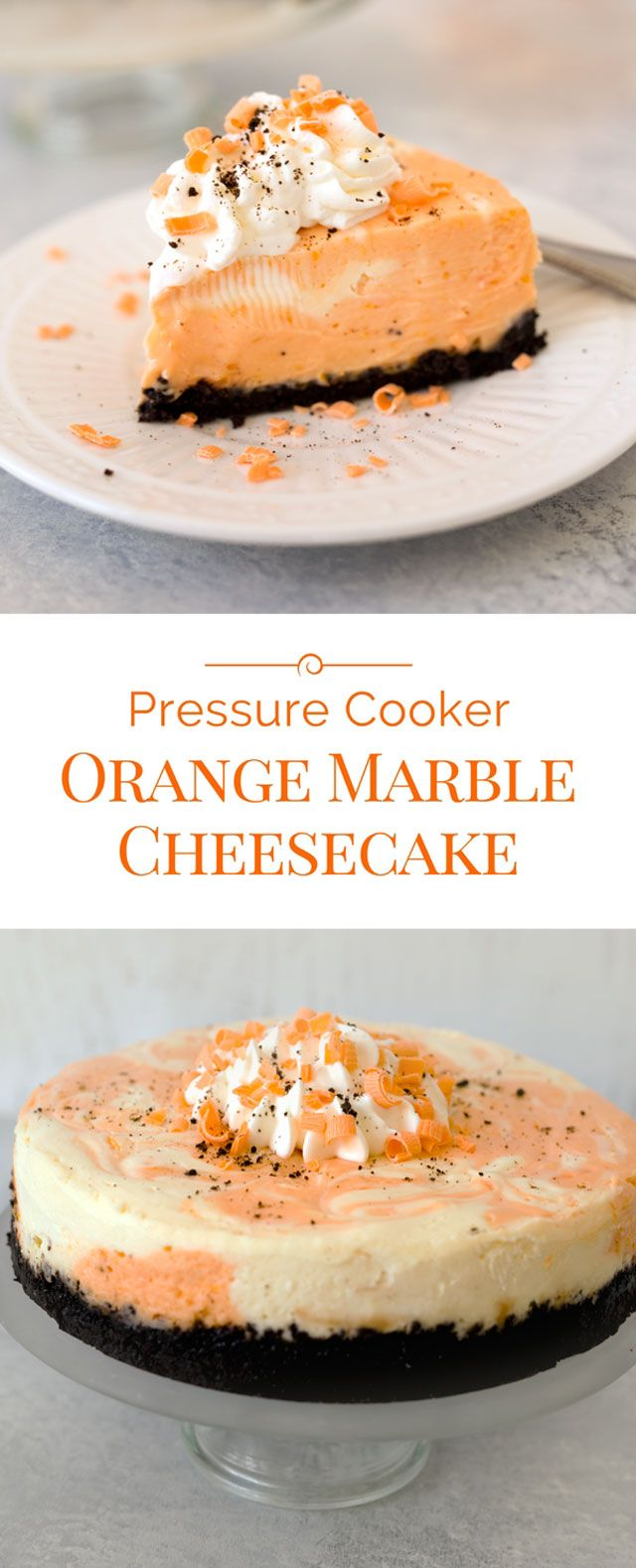 An Orange Marble Cheesecake with an Oreo cookie crust. A luscious dessert perfect for a Halloween party.