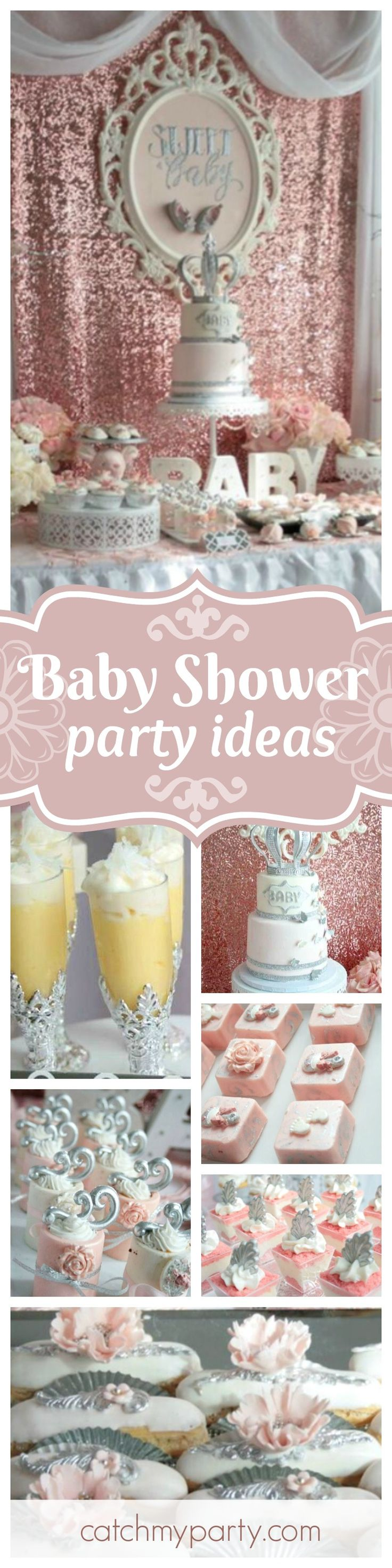Don't miss this glamorous Blush Pink Baby Shower. The dessert table & backdrop are amazing!! See more party ideas and share yours at CatchMyParty.com