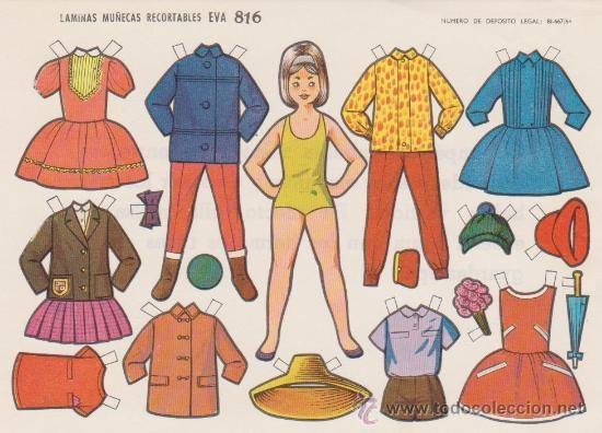 (⑅ ॣ•͈ᴗ•͈ ॣ)♡                                                             ✄Recortable   Eva  Año 1964..