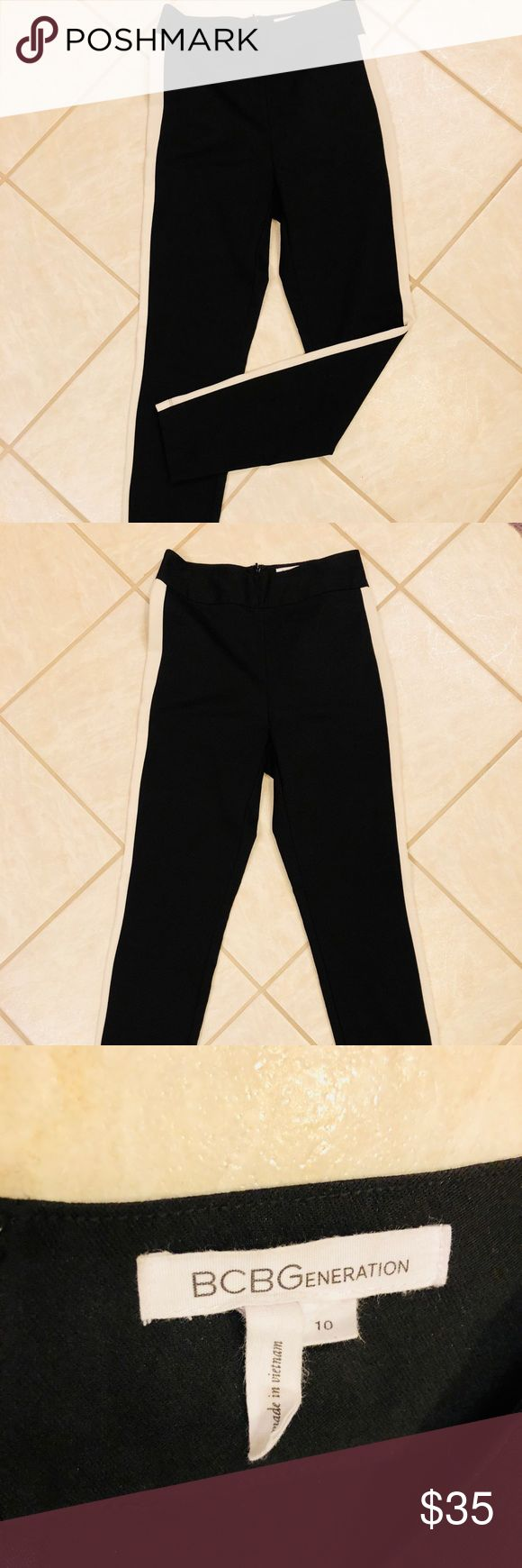 BCBG black skinny pants, never worn These high-waisted, black skinny pants from BCBG have a white stripe down the outside and a zipper in the back. Very flattering. BCBGeneration Pants Skinny