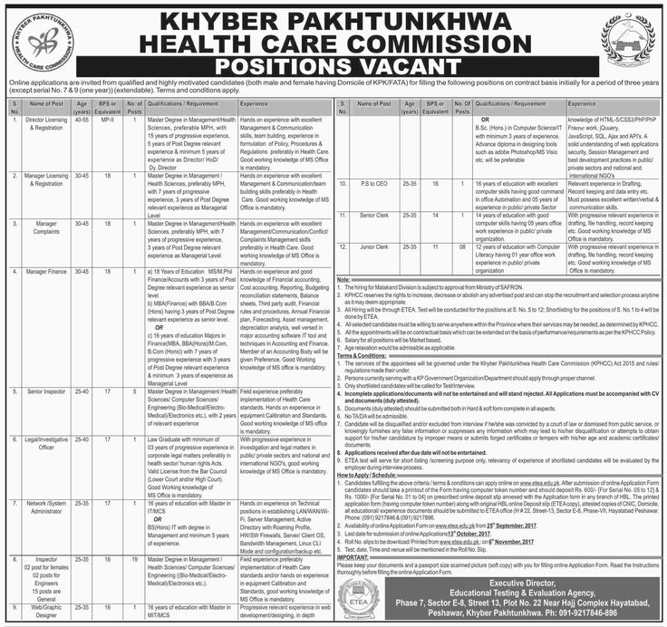 Health Care Commission Jobs 2017 In Khyber Pakhtunkhwa For Managers And Senior Inspector http://www.jobsfanda.com/health-care-commission-jobs-2017-in-khyber-pakhtunkhwa-for-managers-and-senior-inspector/
