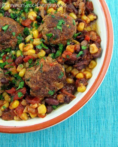 Southwest Meatball Skillet by Cinnamon Spice and Everything Nice