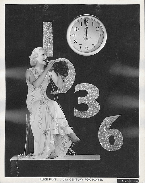 Platinum blonde actress Alice Faye counts down the seconds until 1936 kicks off in this delightful vintage image.