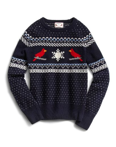 """gqfashion:    GQ Selects: Gant by Michael Bastian Lambswool Cardinal Sweater  From GQ creative director Jim Moore: """"What I love about Michael Bastian is he's always looking to do something fun. This is the anti-Christmas sweater. It's taking this nerd-ball concept and making it cooler. Sometimes these knits are heavy but this is a Shetland, so it's lightweight. You can wear it with an oxford cloth shirt and a tie or wear a T-shirt under it and jeans."""" More info including where to buy it…"""