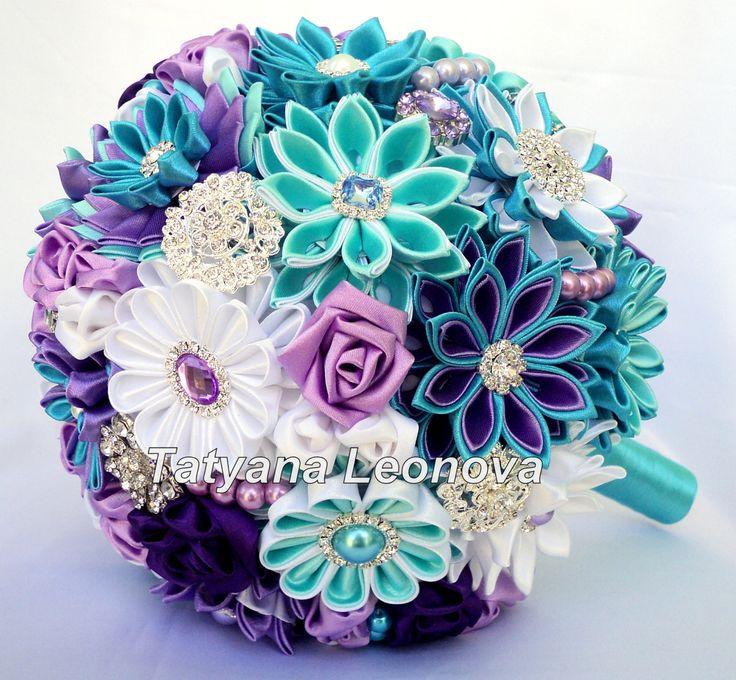 Wedding Bouquet Brooch bouquet purple turquoise white and by LIKKO