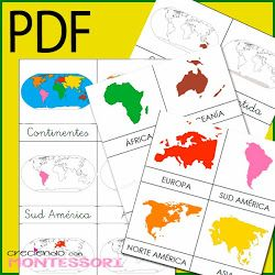 Imprimible Cartas de Continentes Montessori + Cartas de Animales para clasificar