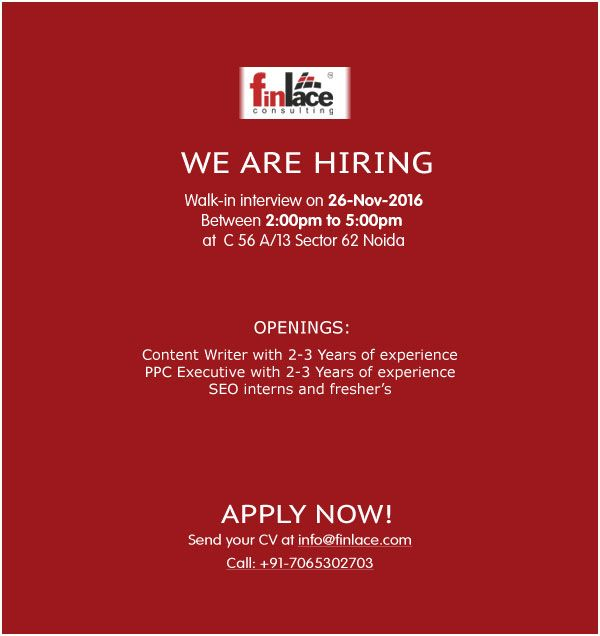 Urgent Openings for One of the leading Real Estate company In Noida. Vacancies are open for Content Writer, PPC Executive and SEO Interns/Fresher also.