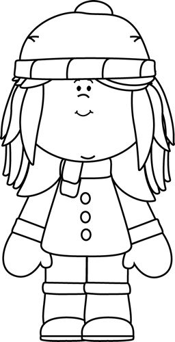 Black and White Winter Girl Clip Art - Black and White Winter Girl Image