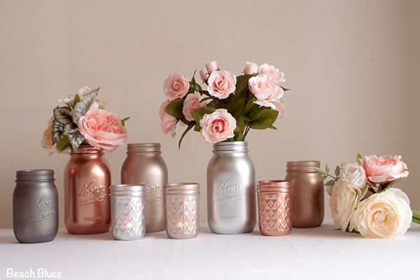 Fill these metallic-painted mason jars with pretty garden flowers (available in silver, copper, and rose gold).