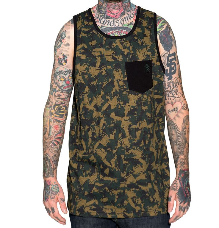 Sullen Clothing Tat Machine Camo Tank Men's Allover Print with Pocket Cotton  #Sullen #Tank