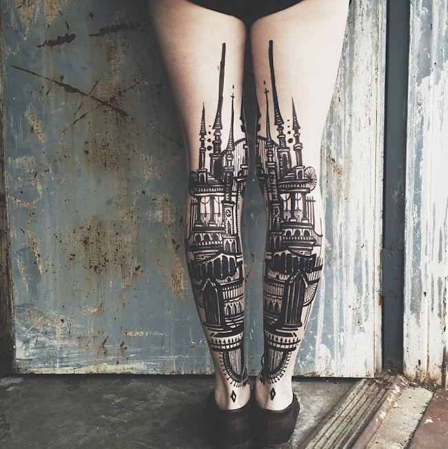 Adorable Back of Leg Tattoos by Artists Houston Patton & Dagny Fox aka Thieves of Tower
