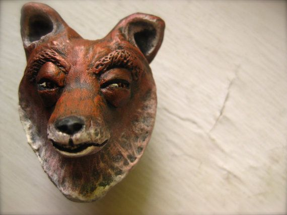 Clay Fox Drawer pull by OpiumStudios on Etsy, $15.00