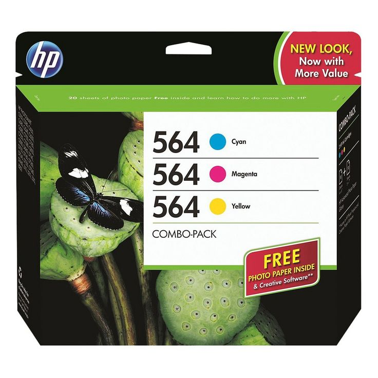 HP 564 Combo Creative Pack Printer Ink Cartridge - Cyan/Magneta/Yellow (B3B33FN#140), Assorted