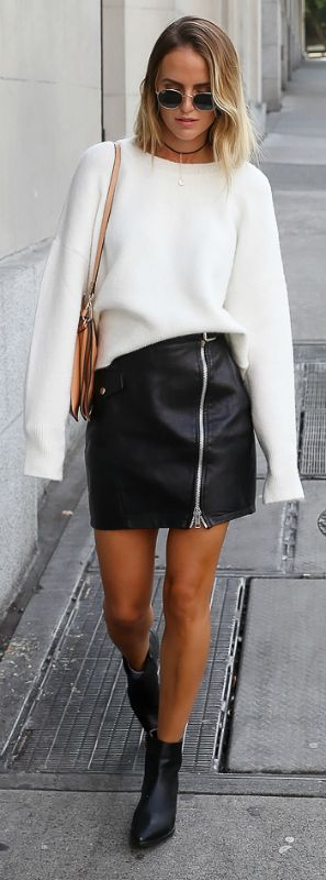 everyday outfit + extra long sleeves trend + new and exciting fashion movement + Kristin Sundberg + smashing! + extra long sleeved sweater + leather or zip front skirt + gorgeous style.   Knit: Chiquelle, Skirt: River Island, Boots: Jennie-ellen, Bag: Chloé.... | Style Inspiration