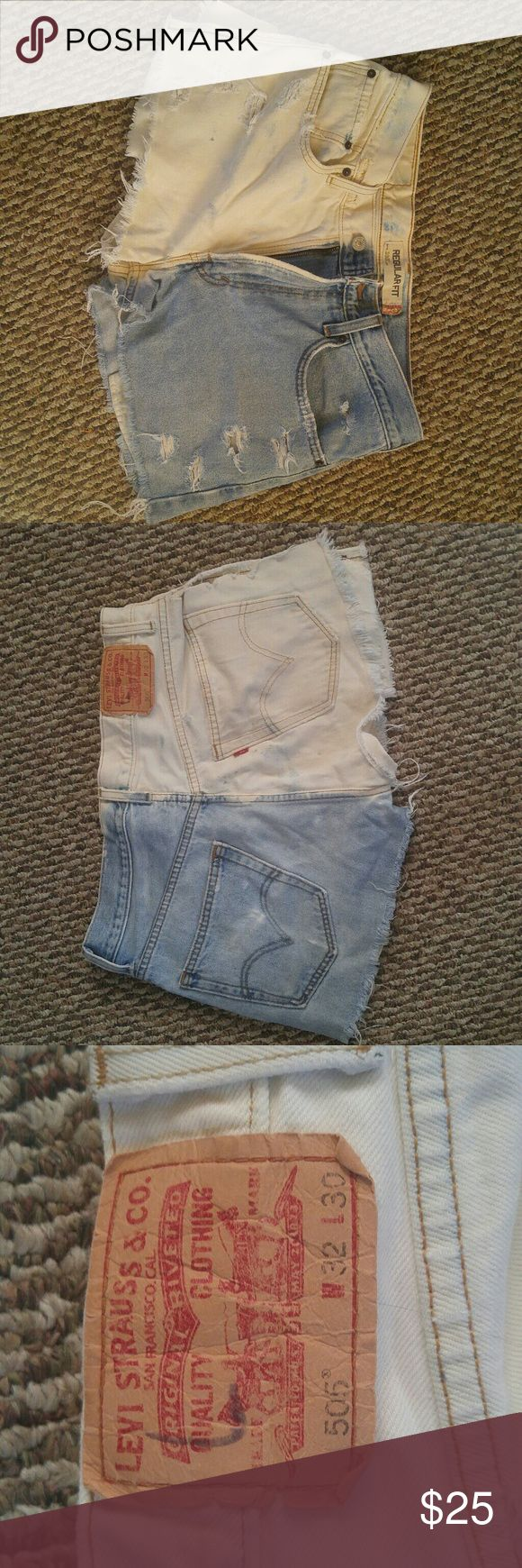 Distressed Levi's shorts Acid washed distressed shorts with a slit up the side that can be closed with safety pins to add a fashion edge. Levi's Shorts Jean Shorts