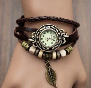 Multicolore di alta qualità delle donne del cuoio genuino dell'annata del quarzo dress orologi da polso braccialetto foglia regalo di natale spedizione gratuita