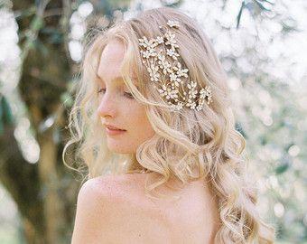 Bruids zendspoel Crystal zendspoel, Floral zendspoel, bruiloft zendspoel, bruids haar kam, bruiloft haar kam, bruiloft accessoire - stijl 502