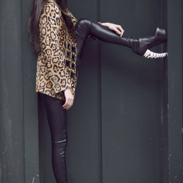 Leopard coat + latex tights + skeleton boot