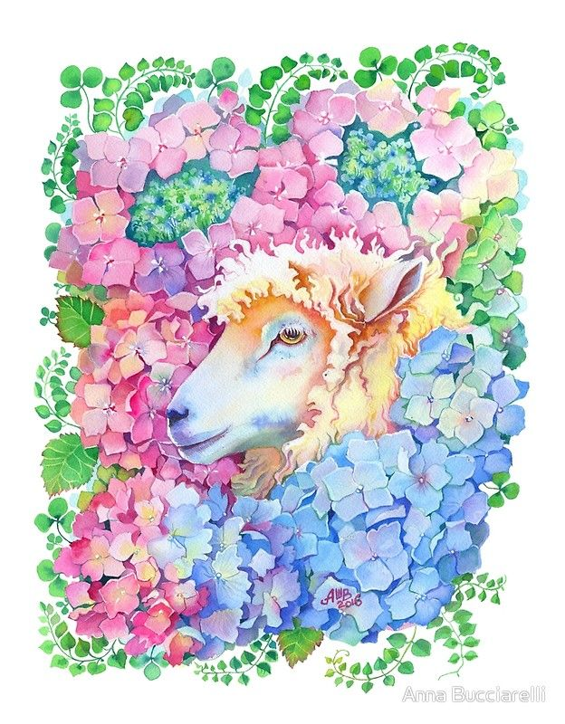 Year Of The Sheep Original Watercolor Painting Features A Charming