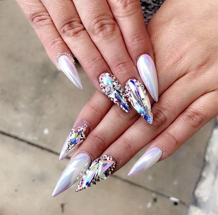 White Chrome White Crystals Stiletto Nails Rhinestone Nails Bling Acrylic Nails Crystal Nails