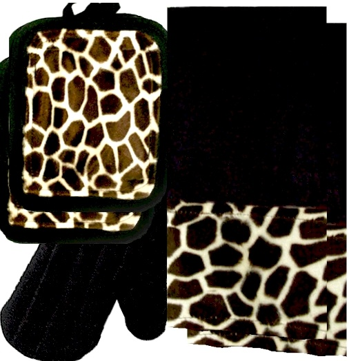 AnythingAnimals.com  Animals Bordering Africa Animal Print Kitchen Linen Set.  Black/Giraffe $35