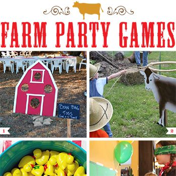 No farmparty is complete without getting outsideand playing some games! Here are some farm theme party games that will be a bighit for all ages: 1. Barn Bean Bag Tossvia Catch My Party–A party classic.What kid doesn't love beanbags? 2. LassoThe Cow Gamevia Denise Morris–Kids ...