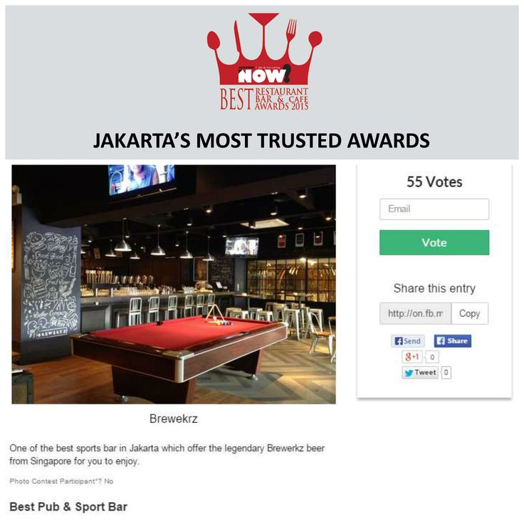 Give your vote for @brewerkzjkt for The Best Pub & Sport Bar on #BRBCA2015! #Jakarta #NOWJakarta #LifeinTheCapital #BRBCA #Best #Pub #Sport #Bar #SportBar #Category #Award #Awards #Event #Events #Brewerkz #BrewerkzJakarta #BrewerkzJKT #JKTEvent #Brunch #Lunch #Diner #Dining #Dine #Hangout
